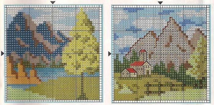 Схемы вышивки крестом миниатюры природа 25